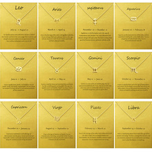 12 Constellation Pendant Necklace Zodiac Sign Birthday Gifts Message Card for Women Girl