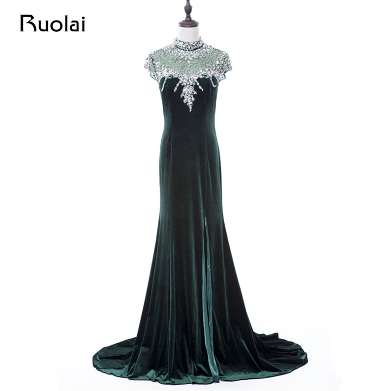 Special Section Real Image 2019 Velet High Neck Dubai Style Mermaid Evening Dresses Long Prom Dress Crystal Beaded Neck Vestido De Fiesta Fe20 Bracing Up The Whole System And Strengthening It Weddings & Events