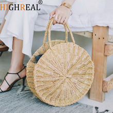 2019 Round Straw Bag For Women Beach Handmade Shoulder Bags Satchel Bag Womens Handmade Rattan Woven Round Handbag Summer
