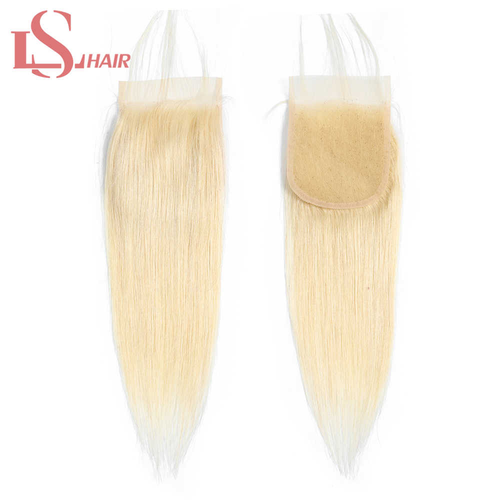 LS Hair Brazilian Straight Hair Lace Closure With Baby Hair Hand Tied 613 Blonde Lace Closure platinum Remy Hair Extension