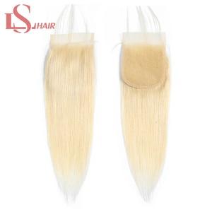 Волосы LS, бразильские прямые волосы на шнурке с детскими волосами, ручная работа, 613 блонд, кружевные накладные платиновые волосы Remy