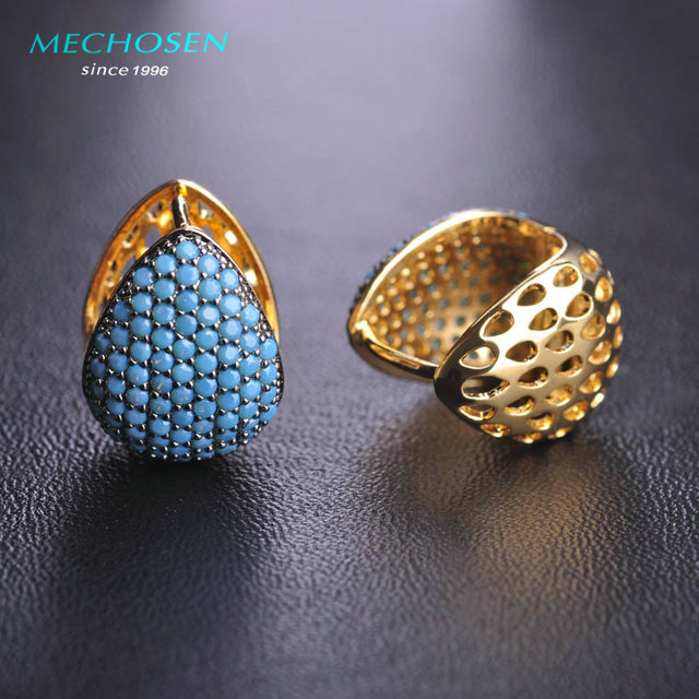 MECHOSEN Elegant Turquoise Stud Earrings Gold Plated Love Heart Copper Brincos Jewelry CZ Zirconia Rhinestone Women Bijouterie