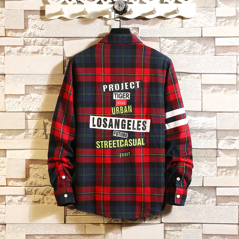 Checker shirt, long sleeve Korean version spring fashion workwear, handsome casual shirt, jacket, Hong Kong style shirt 26