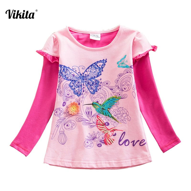 VIKITA Brand Girls t-shirt Long Sleeve Girls Flower Butterfly t-shirts Autumn Winter Tops and Tees Children Patchwork Tees G618 fashion long sleeve o neck t shirt 2017 new arrival men t shirts tops tees men s cotton t shirts 3colors men t shirts m xxl