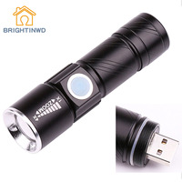 BRIGHTINWD Rechargeable LED Torch CREE Q5 3 Mode USB LED Flashlight Ultra Violet UV Flashlight Blacklight Detector Uv Led