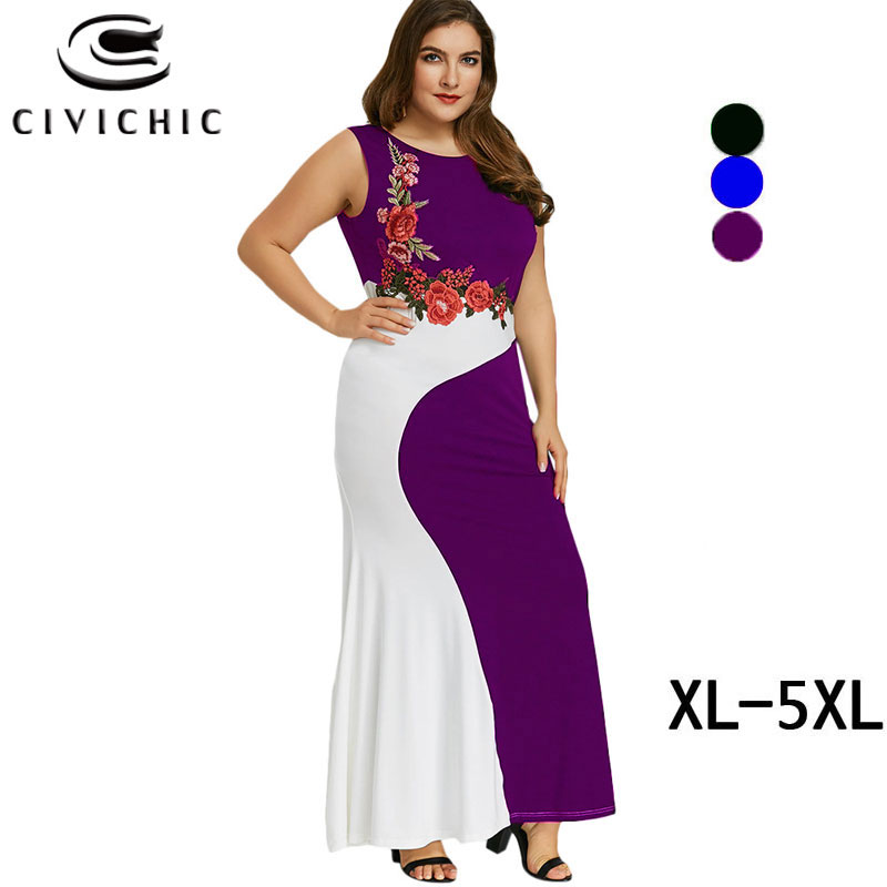 CIVI CHIC Elegant Embroidery Tank Summer Dress Women Plus Size Large Maxi Zomer Jurk Spliced Mermaid Vestidos Verano 2018 DRS84