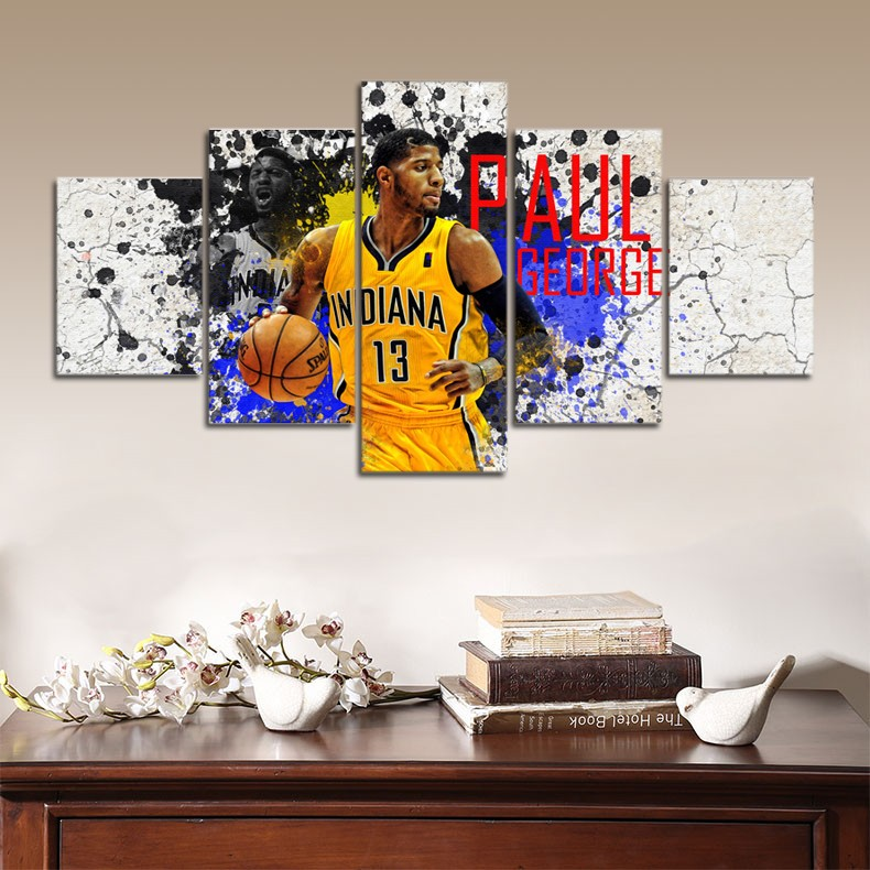 5 Pieces/set HD Indiana Paul George Fahion Canvas Painting Wall Art Basketbaall Prints Home Decor Panels Poster For Living