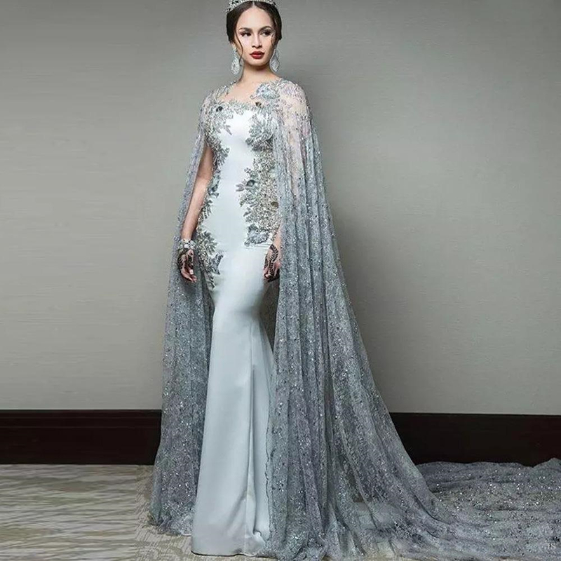 Newest Abric Mermaid Evening Dresses With Cape Sleeve Jewel Neck Formal Evening Wear Sequined Sweep Train Celebrity Gowns