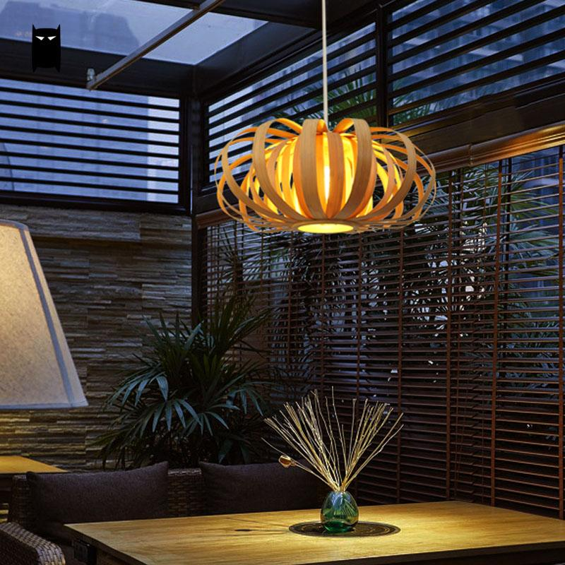 Bamboo Wicker Rattan Pumpkin Shade Pendant Light Fixture Art Asian Contemporary Hanging Ceiling Lamp Counter Office Lounge Room цена