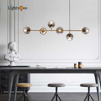Nordic Designer Lange Vorm Restaurant Woonkamer Model Kamer Hanglamp Glazen Bal Metalen Staaf Hanglampen