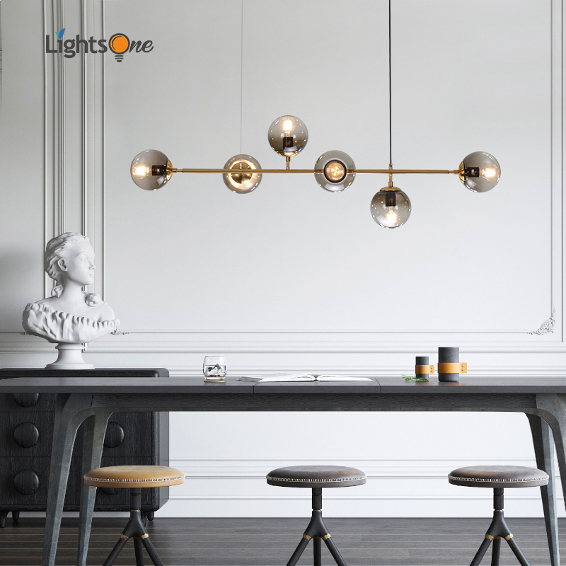 Nordic designer long shape restaurant living room model room pendant lamp glass ball metal rod pendant lights