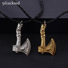eec7b7b6a9ed La mitología nórdica vikingo hacha COLLAR COLGANTE antiguo de plata de oro  Color Lobo diseño hacha de cuero Collar para hombres .