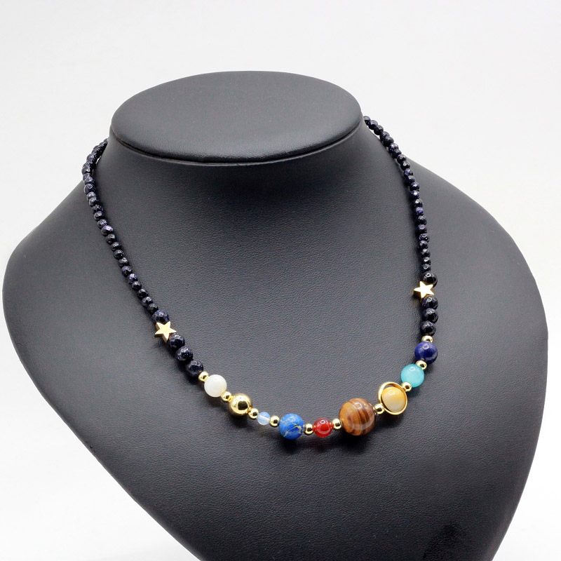 Customizable Universe Galaxy the Eight Planets in the Solar System DIY 925 silver charms Natural Stone Beads necklace for Women locket