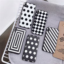 Wave Point Phone Case For iPhone 6 6s 7 8 Plus X XR XS Max Vintage Ultra-thin Square case Black White Cover