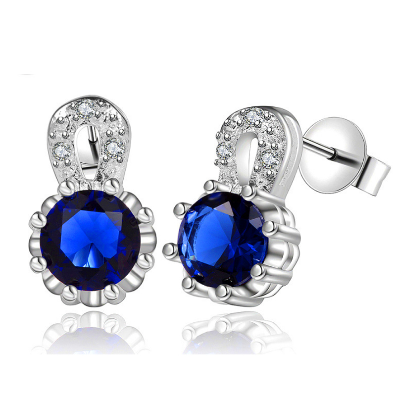 JEXXI High Quality!Real 925 Sterling Sliver Fashion Jewelry Shiny CZ Diamond Cubic Zirconia Woman Charm Earrings