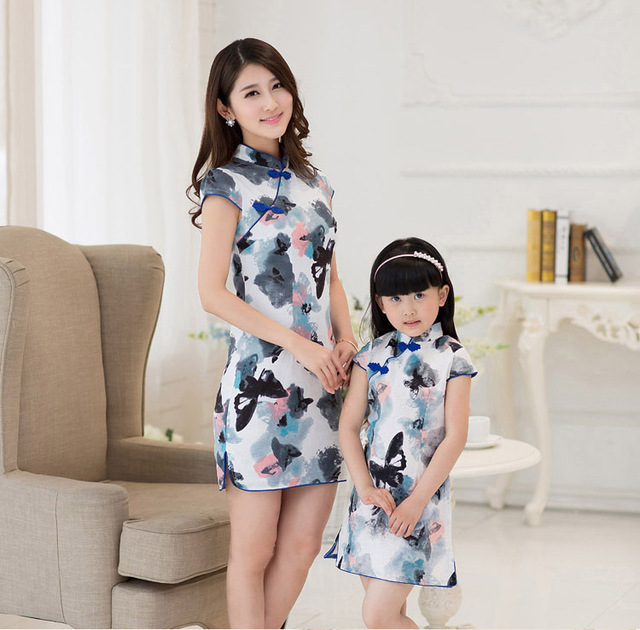 Mother & kids linen chinese cheongsam qipao dress girls parent child costumes mom and daughter family matching outfits