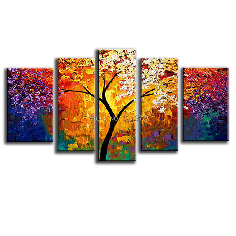 100 Handpainted modern home decor wall art picture colorful tree thick palette font b knife b