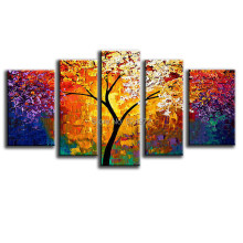 100% Handpainted modern home decor wall art picture colorful tree thick palette knife oil painting on canvas for living room