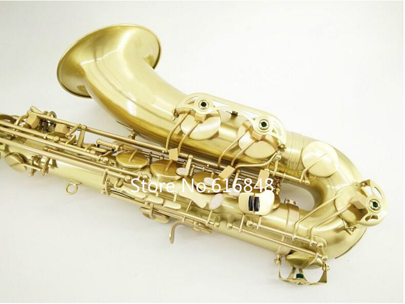 Fast shipping MARGEWATE Drop B Tenor Brushed Gold Plated Bb Saxophone Sax For Students With Case Mouthpiece and Accessories professional selmer 54 bb tenor saxophone brass concert music instrument sax nickel plated shell buttons with case mouthpiece