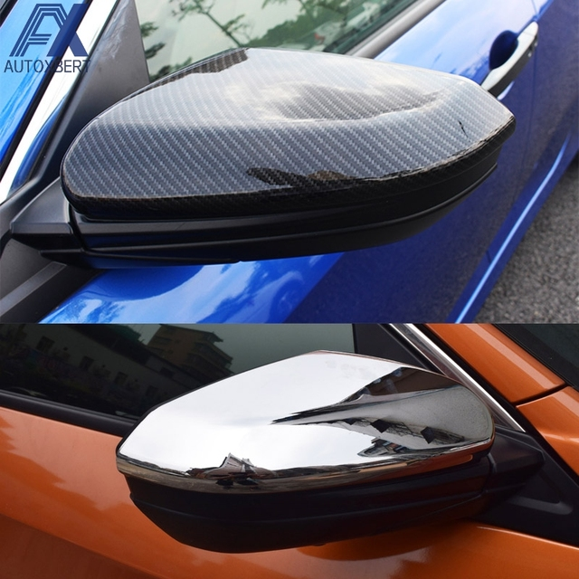 AX Chrome Carbon Fiber Style Rear View Rearview Door Side Mirror Wing Caps  Trim Car Cover