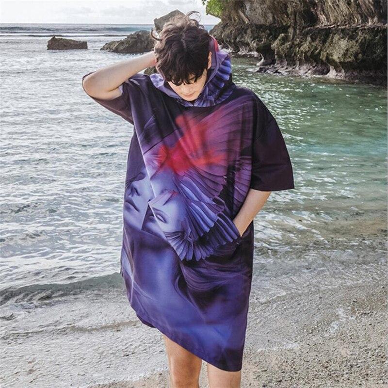 Peignoir à capuche hommes et femmes longue plage robe plage 2019 maillot de bain caftan beachwear tunique serviette bain robe absorbant