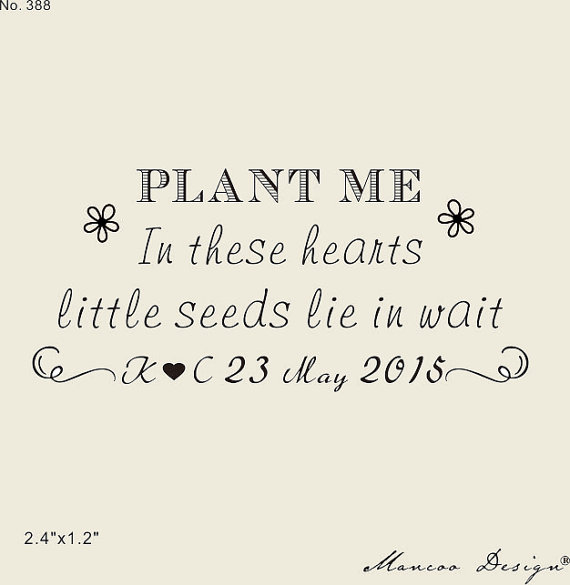 "Custom Plant Me Stamps 2.4"" X1.2"" Let Love Grow Stamp Seed"