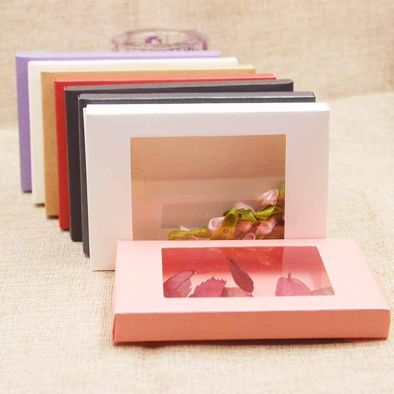 Deluxe Multi Color Paper Gift Package& Display Box With Clear Pvc Window Wedding Candy Favors Arts&krafts Package Box 10pcs
