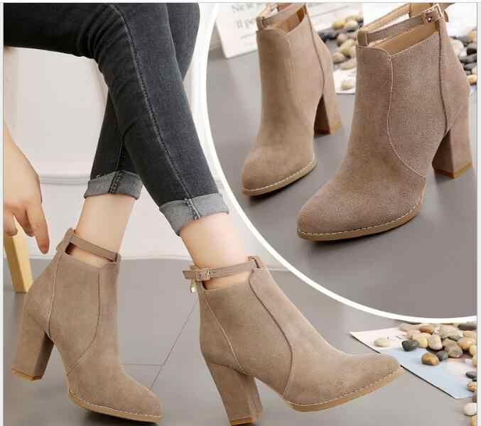 Yeni kadın ayakkabısı vahşi süet Sonbahar Kış Moda Kadın Çizmeler Yüksek Topuklu kadın Deri yarım çizmeler Seksi Sivri Burun Boot