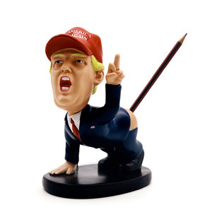 Image 3 - Trump Pen Holder Desk Decor Pen insertion With business card holder Shaking head cartoon doll as gift funny