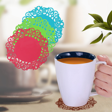 3PC Cup Mats Table Placemat Kitchen Accessories Lace Flower Hollow Doilies Anti-slip Silicone Coaster Coffee Tea Mat Pad