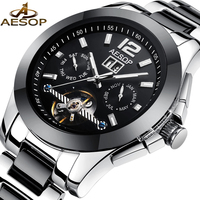 AESOP Brand Black Men Watch Men Ceramic Automatic Mechanical Wristwatch Fashion Casual Male Clock Relogio Masculino