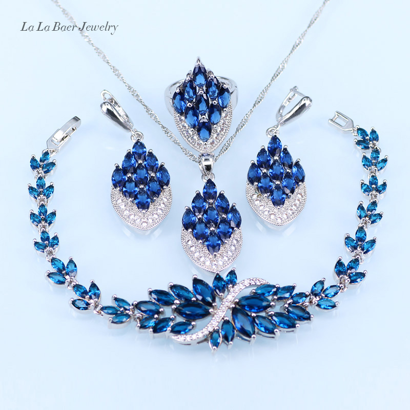 L&B New Blue crystal white zircon silver color Jewelry Sets Bracelet/Pendant/Earrings/Ring for Women with 925 stamp gorgeous faux crystal oval bracelet with ring for women