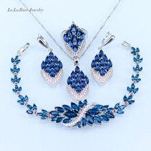 L & B Новый Синий кристалл белый циркон серебро цвет Ювелирные Наборы Браслет/Подвеска/Серьги/Кольцо для женщины с 925 штамп