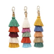 ZWPON 2019 New Boho Colorful 5 Layered Cotton Tassel Bag Keychain for Women