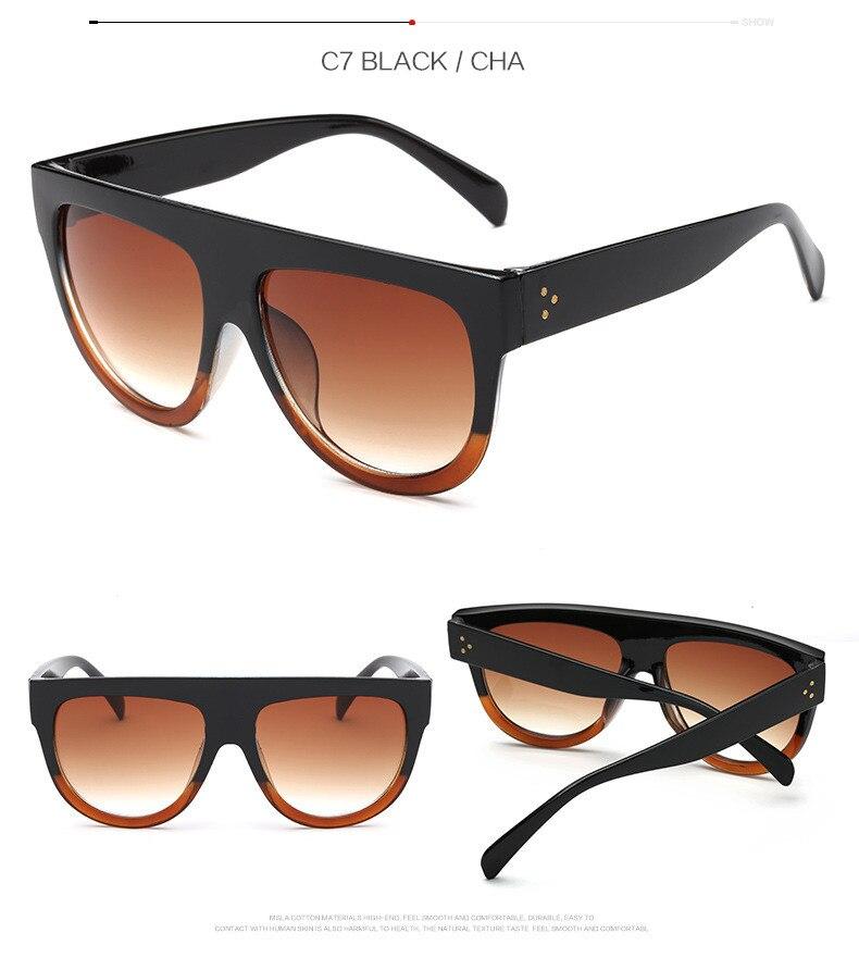 Oversize Retro Flat Top Cat Eye Glasses 8