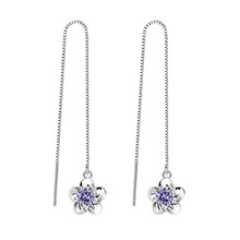 100% 925 sterling silver fashion plum flower shiny crystal ladies`long stud earrings women jewelry female Valentines Day gift