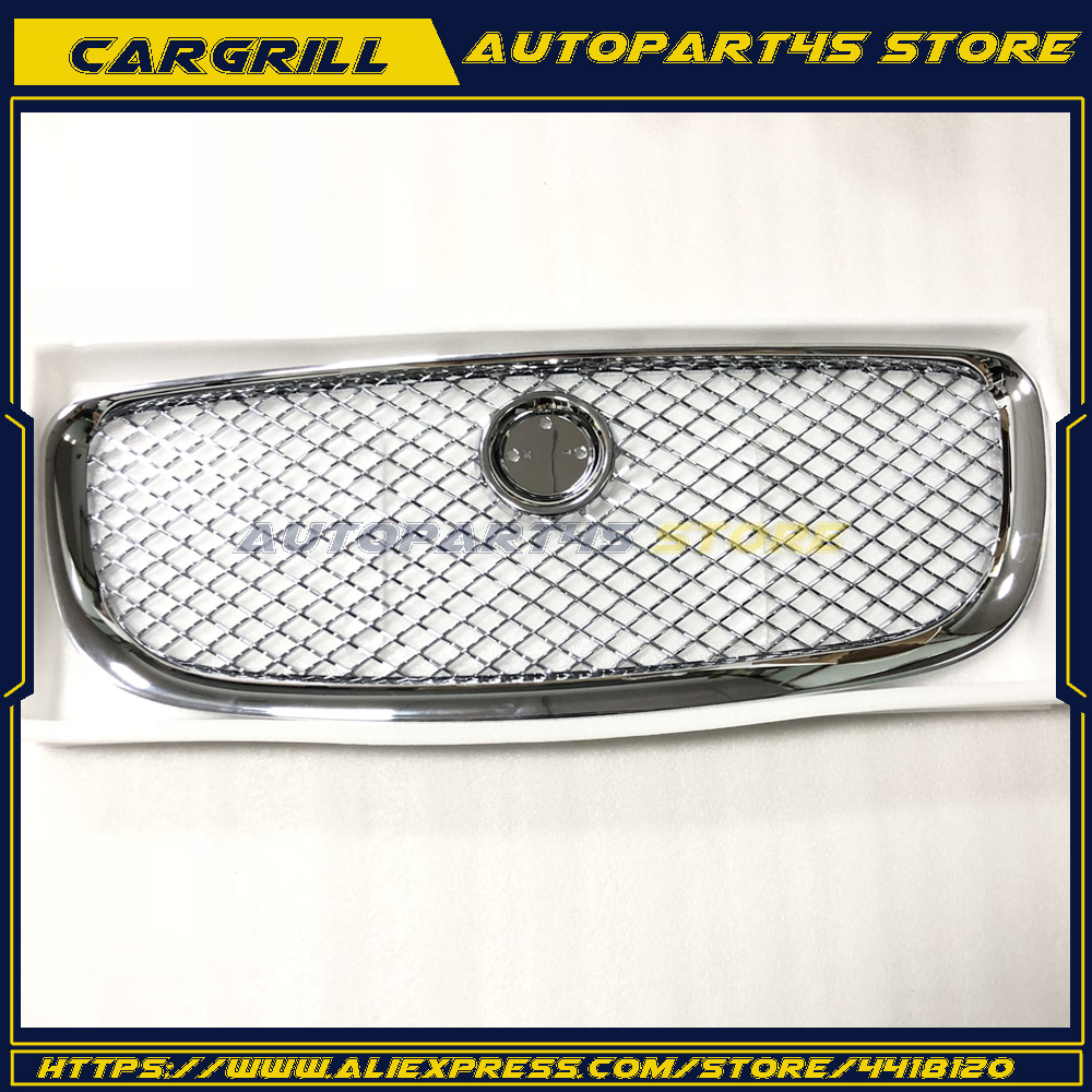 Sliver/Black Car Racing Grille For Jaguar XJ 2010-2015 Grill With Emblem Logo Mesh ABS Chrome Radiator Front Bumper Lower Modify 2pcs car racing grille for ford fiesta 2014 2015 2016 grill abs black radiator chrome front bumper upper lower modify mesh