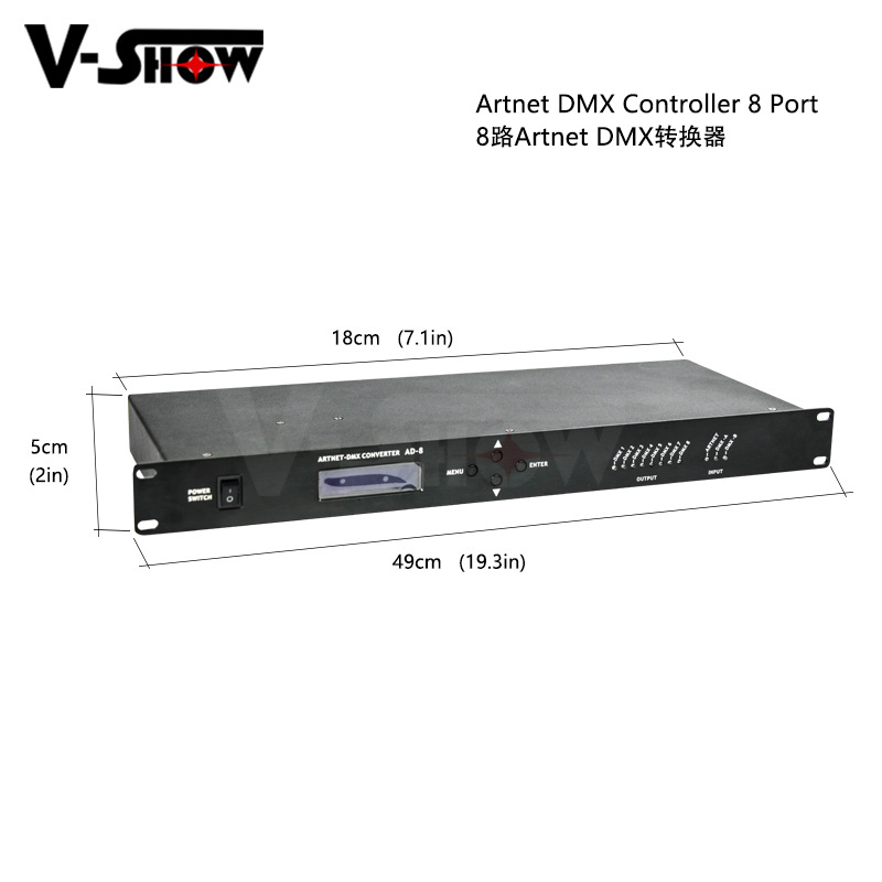 1pc Artnet Dmx Controller 8 Port Converter Output 8x512 4096 Channels For Satge Dj Light Control