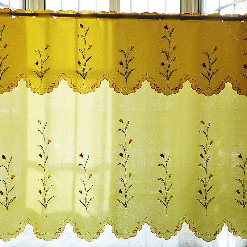 US $38.0 5% OFF|2PCS/set rural embroidered floral Window door Curtain Tiers  valance kitchen curtain 1 Tiers 1 valance M557-in Curtains from Home & ...