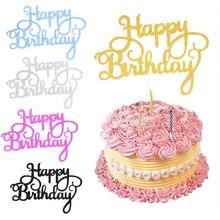 10 stücke Glitter Glücklich Geburtstag Kuchen Topper Gold Silber Kuchen Flagge Kuchen Dekoration Werkzeuge Backen Zubehör