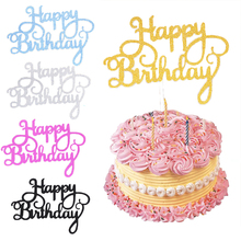 10pcs Glitter Happy Birthday Cake Topper Gold Silver Cake Flag Cake Decoration Tools Baking Accessories