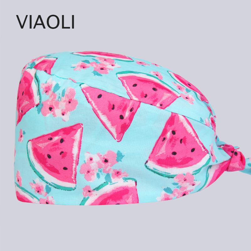 Viaoli New Cotton Scrub Caps For Women And Men Hospital Medical Hats Printing Tieback Elastic Section Surgical Caps Pet Caps