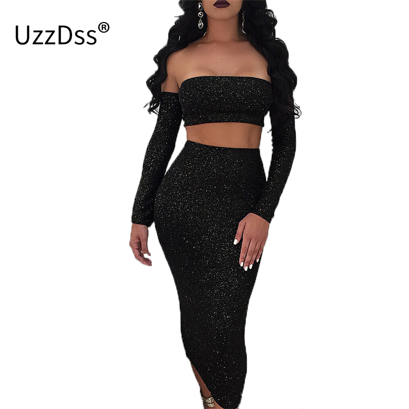 Detail Feedback Questions about UZZDSS 2018 Sexy Sparkling Thread Women  Club Dress Bandage Slash Neck Party Dress Sexy Long Sleeve Two Piece Dress  Set on ... 9916c4c5d0c6