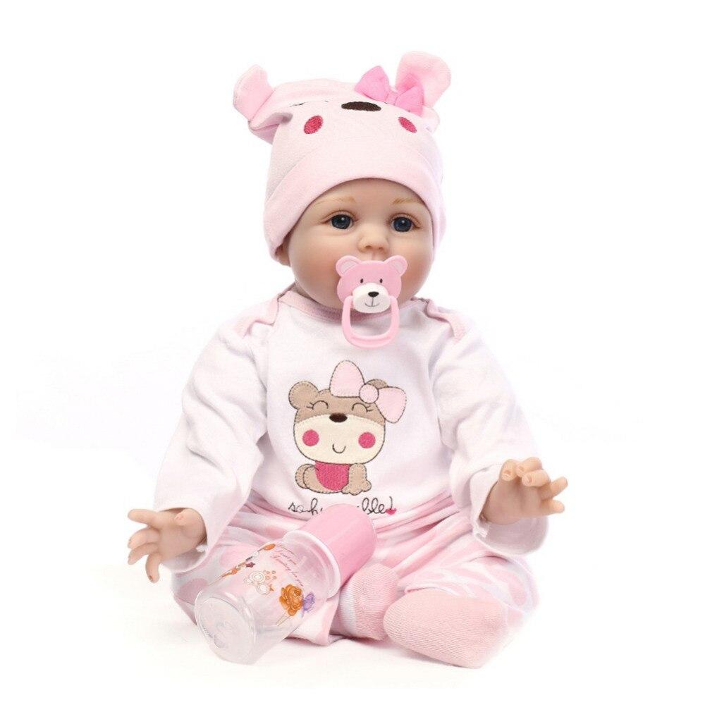 55 cm Silicone Reborn bébé poupée jouets pour les filles mignon réaliste doux tissu bébé poupée anniversaire noël cadeau pour les filles livraison directe