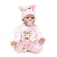 55cm Silicone Reborn Baby Doll Toys For Girls Cute Realistic Soft Cloth baby Doll Birthday Christmas Gift For Girls Dropshipping