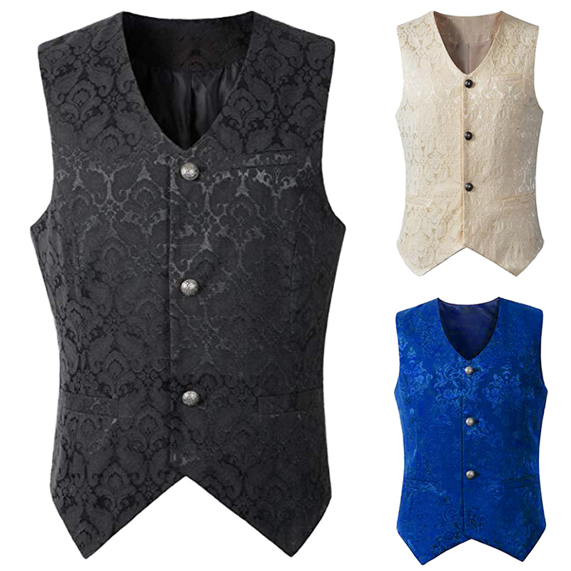 Men Medieval Renaissance Steampunk Romeo Stage Tuxedo Prince King Vest Tops Waistcoat Gothic Pirate Party Event Cosplay Costume