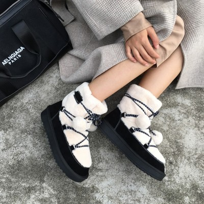 Hot Women Snow Boots Suede Short Booties Lace Up Platform Women Flats Warm Winter Shoes Brand Chic Fashion Shoes Zapatos Mujer