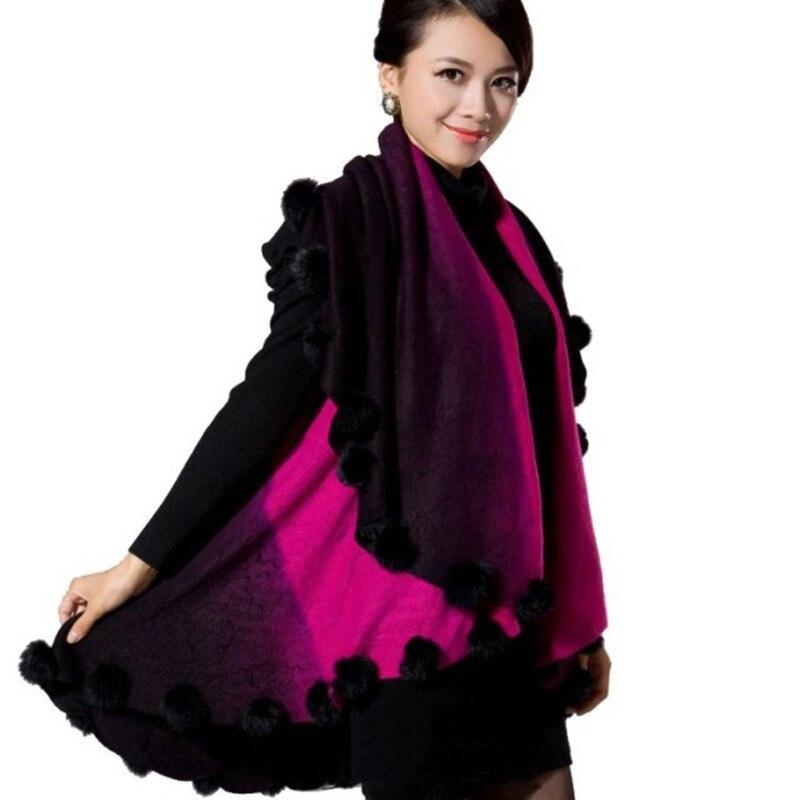 Nueva Imitación Poncho Fur Cardigan Cachemira Red Moda caqui Ball rose Faux Long púrpura gris Rabbit Coat Pink Mujer Lana rojo BqArPB