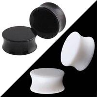 2 Pairs White Black Acrylic Saddle Ear Tunnel Plugs Big Gauges Flesh Body Piercing Ear Reamer