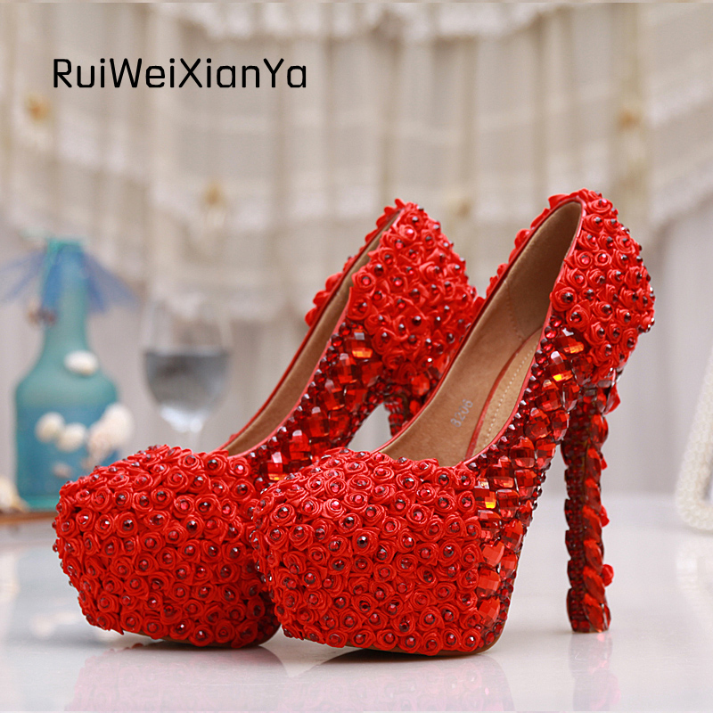 2017 New Fashion Spring Zapatos Mujer Sweet Crystal Bridal Red Wedding Shoes Woman Pumps Single High Heels Plus Size Hot Sale 2017 new fashion spring ladies pointed toe shoes woman flats crystal diamond silver wedding shoes for bridal plus size hot sale